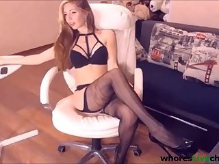young blonde foot fetish legs heel stockings