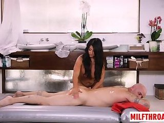 Brunette milf deepthroat and massage