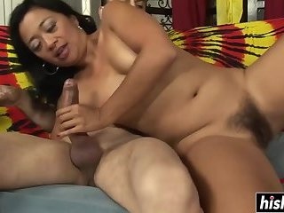 Asian slut gets her bush drilled