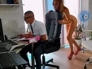 Kinky Redhead Gets Caught Playing With Herself Behind Bosses Back