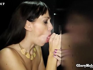 brunette women does gloryhole cumswallow