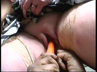 French mature Katia takes 2 cocks