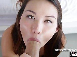 Hot brunette sucks cock in POV