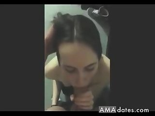 Sweet college girl can barely fit that cock in her mouth