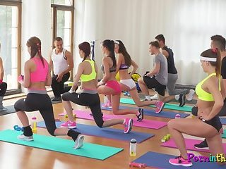 Yoga pants lesbians fingering after work out
