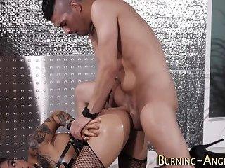 Ebony punk licks up cum