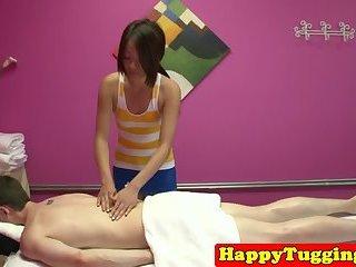 Pretty asian masseus sucking and fucking