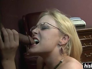 Nerdy girl plays with a delicious dick