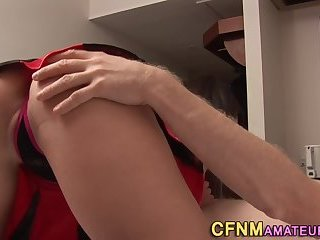 Clothed cheerleader sucks