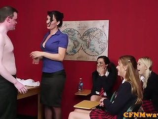 CFNM schoolgirls cocksucking teacher