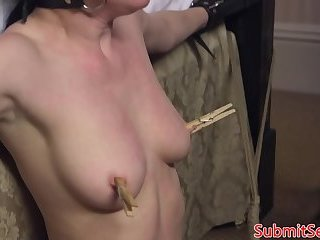 Tormented smalltit babe gets whipped by dom