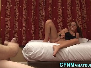 Cfnm babe fingers pussy