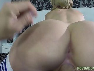 Busty beauty sucking before taboo sex on bed