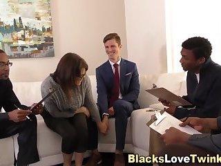 White guy takes black rod