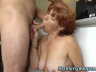 Old granny cum covered