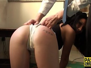 Spanked submissive banged