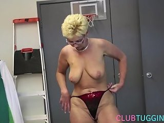 Mature babe jerks cock after stipping POV