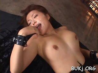 Bondage sloppy cock sucking