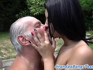 Smalltitted babe banged by oldman