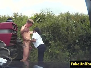 British ebony officer MMF trio fucked outdoor