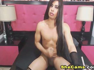 Lovely Shemale Jerks Off Until She Cums