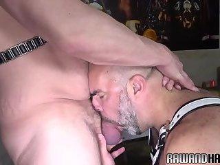 Dicksucking mature bear drilling hairy stud