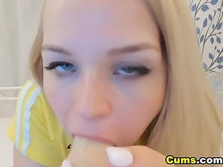 Cute Busty Blonde Makes Love with Her Dildo