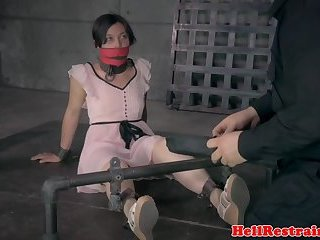 Bound sub whipped and toyed by her maledom