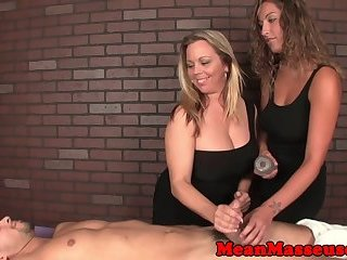 Alluring massage babes enjoy cbt fun