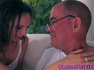 Teen riding horny grandpa