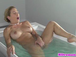 Classy girlfriend masturbates before fucking