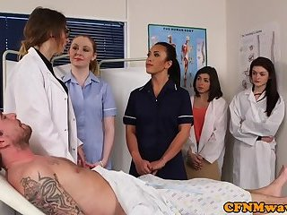 CFNM nurses stroking patients hard dick