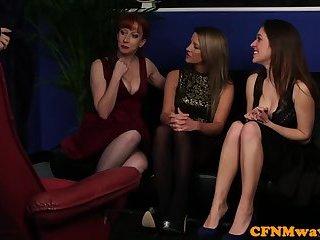 Mature femdom teaching babes to jerk dick