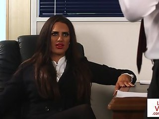 Office beauty humiliating wanking submissive