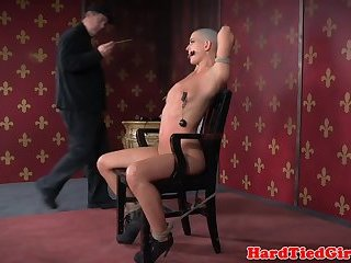 BDSM sub whipped and caned before vibrator