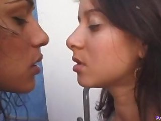 Lesbian tranny plowing babes tight ass