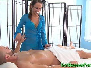 Pretty masseuse jizz soak