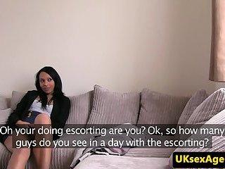 Ebony babe doggystyled at UK casting audition