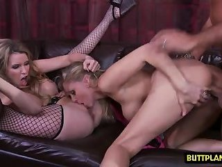 Big tits wife threesome and cumshot