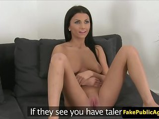 Auditioning euro babe with creamy cunt fucked