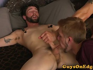 Edging fetish stud getting teased while bound