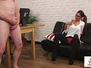 Busty MILF dominates wanking submissive