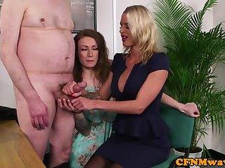 British CFNM fetish MILFs stroke fat cock