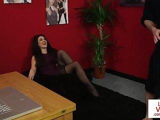 Voyeur office babe gives JOI in lingerie