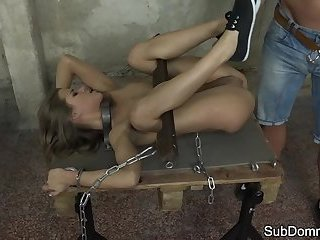 Petite slave hardfucked and restrained