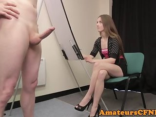 CFNM fetish babe strokes hard cock