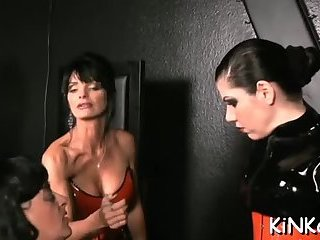 Mistress plays with ass slave