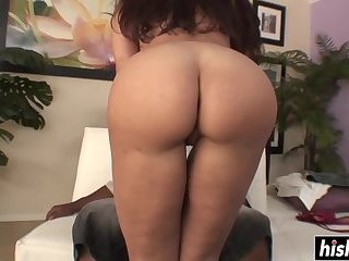 Busty girl rides a long dick