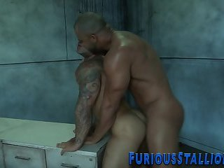 Muscled dudes ass banged