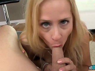 Blonde bitch sucks dick